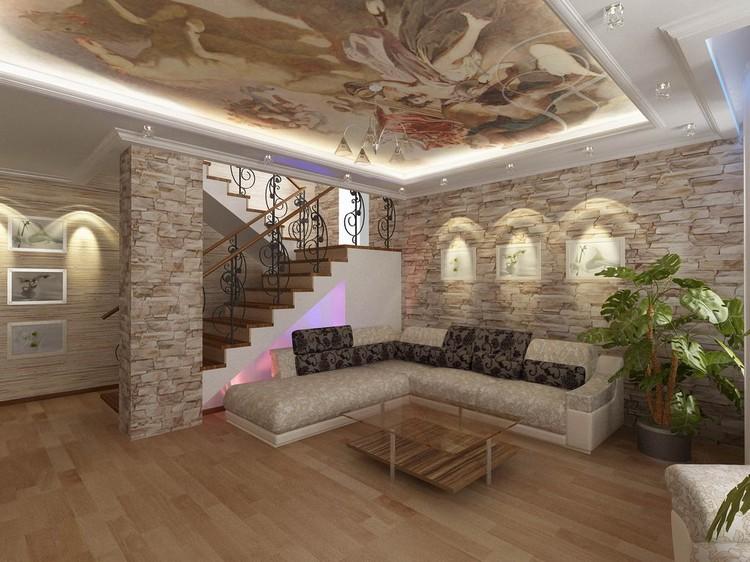 447bc1da Design stue med en steinmur. Dekorativ stein og tapet